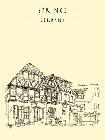 Old town Springe, Germany, Europe. Street with old historical fachwerk buildings. Hand drawing. Travel sketch. Vintage book or calendar illustration, postcard, poster template in vector