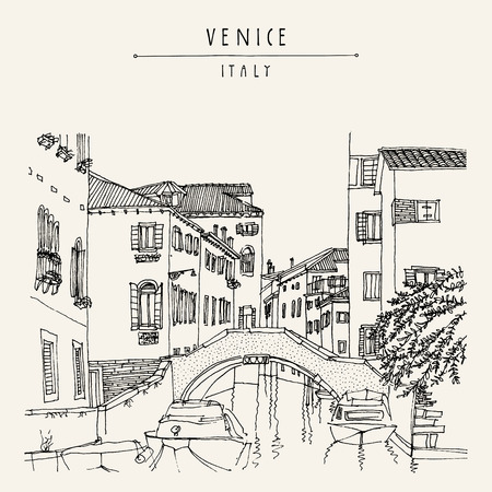 touristic: Bridge in Venice, Italy, Europe. Vector hand drawn vintage touristic postcard