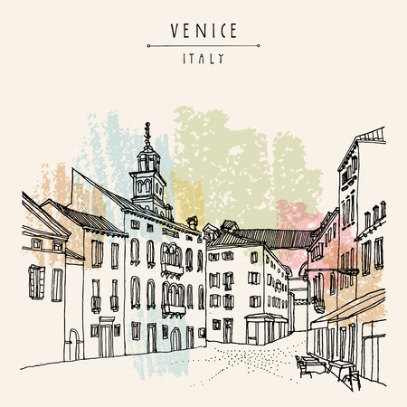 venice italy: Square in Venice, Italy, Europe. Vector vintage hand drawn postcard Illustration