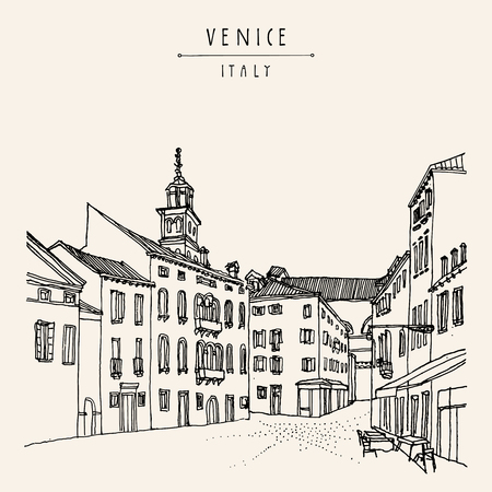 belfry: Square in Venice, Italy, Europe. Vector vintage hand drawn postcard Illustration
