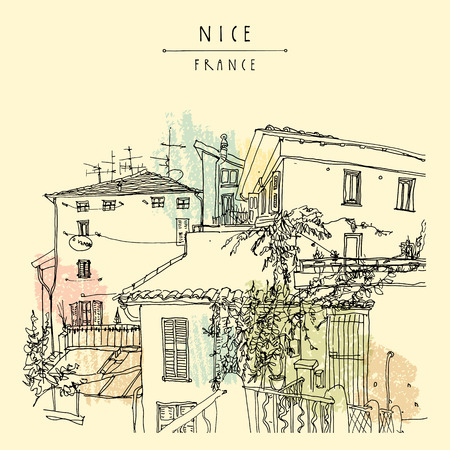 town square: Antique houses in Nice, France, Europe. Cozy European town on French Riviera.  Mediterranean chic. Hand drawing. Travel sketch. Vintage touristic postcard, poster or book illustration in vector