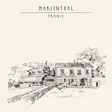 nice house: Old house in Marienthal, France, Europe. A nice countryside view with a farm. Handdrawn vintage postcard, book illustration or poster template in vector