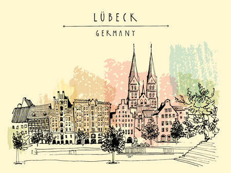riverside trees: Hanseatic city of  Lubeck, Germany, Europe. Riverside. Historic buildings, trees, river Trave. Freehand drawing. Travel sketch. Vintage touristic postcard, poster or book illustration. Vector