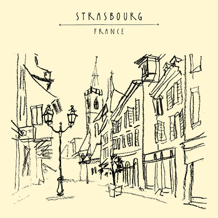 strasbourg: Strasbourg, France, Europe. Pedestrian street in old historic town. French architecture. Hand drawing. Travel sketch. Vintage touristic postcard, poster, calendar or book illustration in vector