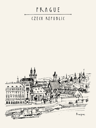 touristic: Prague skyline, Czech Republic, Europe. European cityscape. Travel sketch. Hand-drawn vintage touristic postcard, poster, book or calendar illustration in vector Illustration