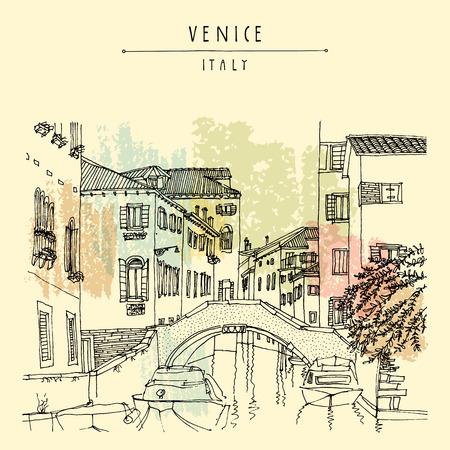 Bridge in Venice, Italy, Europe. Vector hand drawn vintage touristic postcard