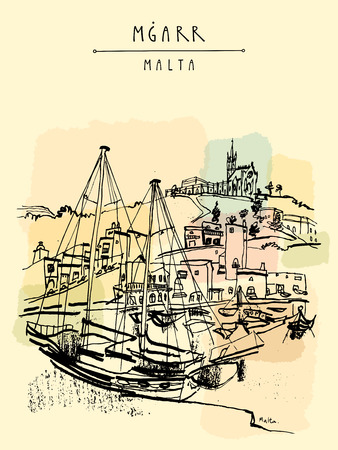 Yachts and church in port of Mgarr, Gozo island, Malta. Beautiful marina. Hand drawn vintage travel postcard, postcard template, book illustration in vector