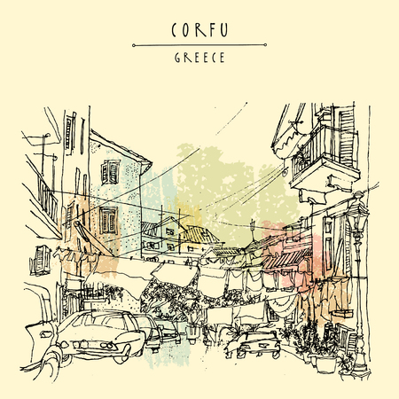 Street in Corfu, Greece, Europe. Retro style sketch. Buildings, hanging bed sheets drying, cars. Travel greeting card, postcard, poster template, book illustration in vector