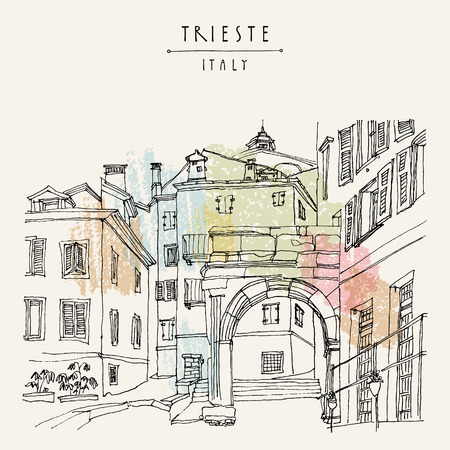 Remains of a Roman arch in Triestes Old City, Trieste, Friuli-Venezia Giulia, Italy. Mediterranean houses. Artistic hand drawn travel sketch. Book illustration, postcard, poster in vector