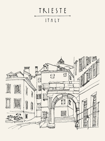 Remains of a Roman arch in Trieste's Old City, Trieste, Friuli-Venezia Giulia, Italy. Mediterranean houses. Artistic hand drawn travel sketch. Book illustration, postcard, poster in vector  イラスト・ベクター素材