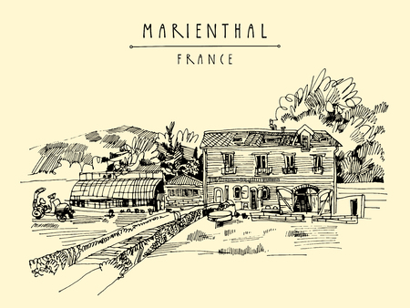 cozy: Farm house in Marienthal, France, Europe. Cozy European village and a farm. Hand drawing. Travel sketch. Vintage touristic postcard, poster or book illustration in vector