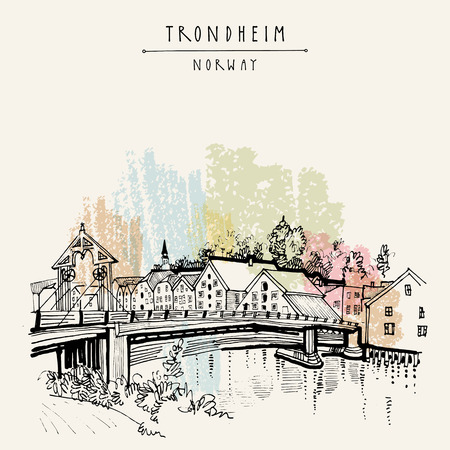 wooden houses: Riverside and amazing historic bridge in Trondheim, Norway, Europe. Old town, wooden houses and a church. Hand drawing in retro style. Vintage touristic postcard, poster or book illustration in vector