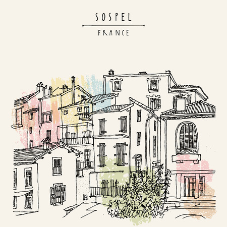 Nice antique houses in Sospel, France, Europe. Cozy European town on French Riviera.  Mediterranean chic. Hand drawing. Travel sketch. Vintage touristic postcard, poster or book illustration in vector