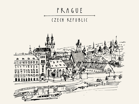 Prag-Skyline, Tschechische Republik, Europa. Europäische Stadtbild. Reise Skizze. Von Hand gezeichnet Jahrgang touristische Postkarte, Plakat, Buch oder Kalender Illustration in Vektor