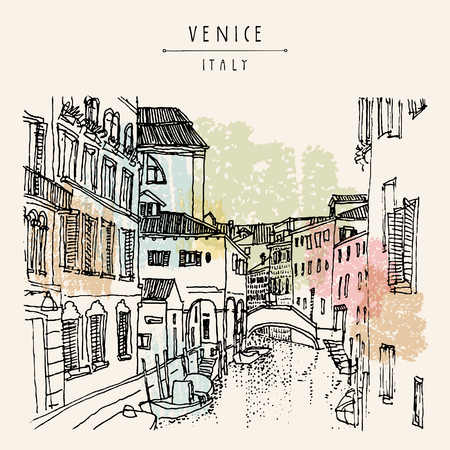 canal houses: Venice, Italy, Europe. Hand drawing of a canal, houses, boat. Vintage artistic book illustration. Travel sketch. Retro style touristic postcard, poster, greeting card in vector