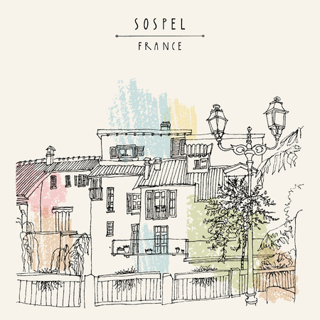 nice france: Nice antique houses in Sospel, France, Europe. Cozy European town on French Riviera.  Mediterranean chic. Hand drawing. Travel sketch. Vintage touristic postcard, poster or book illustration in vector