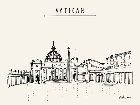 vatican city: Saint Peter cathedral and Apostolic Palace in Vatican city, Europe. Hand drawing. Travel sketch. Vintage touristic postcard, poster, calendar or book illustration in vector Illustration