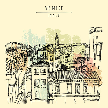 postcard: Venice, Italy, Europe. Old beautiful houses, roofs, skyline. Above view. Vintage artistic hand drawn postcard or poster template