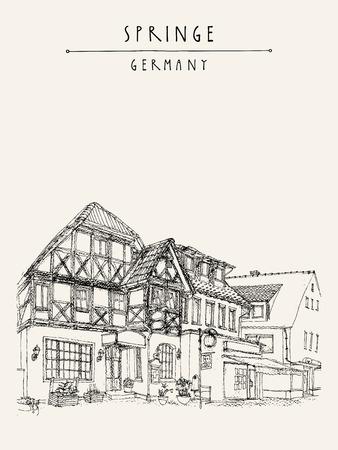 fachwerk: Old town Springe, Germany, Europe. Street with old historical fachwerk buildings. Hand drawing. Travel sketch. Vintage book or calendar illustration, postcard, poster template in vector