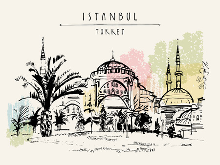 tourist attraction: Istanbul, Turkey. Famous Hagia Sophia mosque. Hand-drawn tourist attraction. Travel sketch. Vintage touristic postcard or poster, book illustration in vector