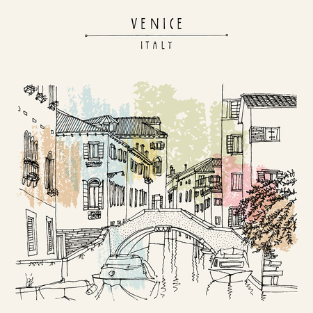 Bridge in Venice, Italy, Europe. Vector hand drawn vintage touristic postcard