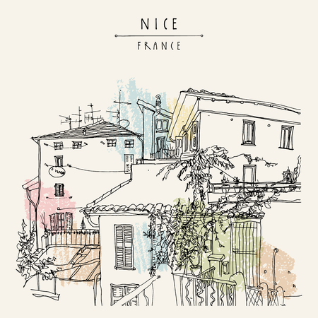 azur: Antique houses in Nice, France, Europe. Cozy European town on French Riviera.  Mediterranean chic. Hand drawing. Travel sketch. Vintage touristic postcard, poster or book illustration in vector
