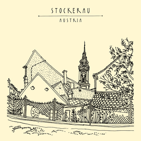 through travel: Saint Stephen Parish Church in Stockerau, Lower Austria, Europe, through a fence. Belfry, houses, flower garden, trees. Retro travel postcard, poster, book illustration in vector Illustration