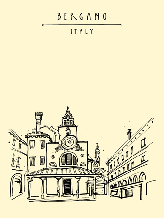 lombardy: Bergamo, Italy, Europe. Historic old town. Italian Renaissance architecture. Travel sketchy artwork. Vintage hand-drawn postcard, touristic poster, calendar page or book illustration in vector