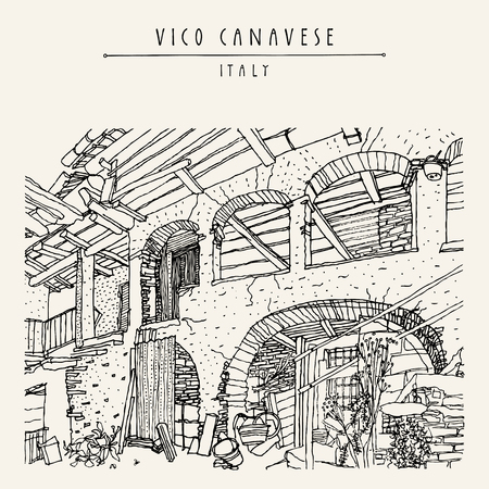 mediterranean homes: Italian village, Europe. Old house. Travel sketch. Vintage hand drawn touristic postcard or poster