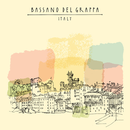 waterfront: Bassano del Grappa, Italy. Panoramic view, waterfront. Italian historic buildings in old town. Retro style touristic postcard, poster template or book illustration in vector