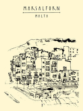 romantic getaway: Marsalforn, Gozo island, Malta. Hand drawn touristic vintage postcard or poster template, book illustration in vector Illustration
