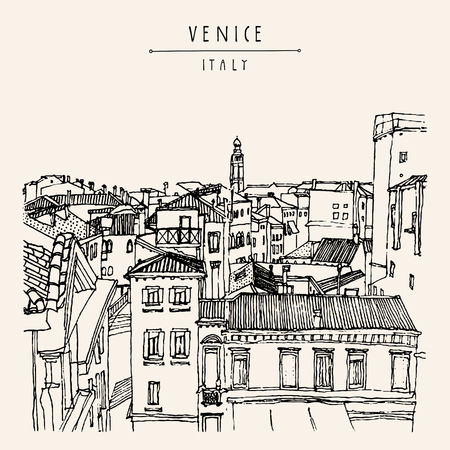 italian culture: Venice, Italy, Europe. Old beautiful houses, roofs, skyline. Above view. Vintage artistic hand drawn postcard or poster template