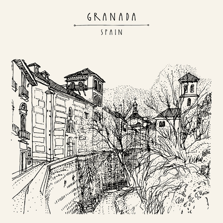 alhambra: Old town in Granada, Andalucia, Spain, Europe. Traditional Spanish historical buildings.Travel sketch. Hand-drawn vintage book illustration, greeting card, postcard or poster template in vector Illustration