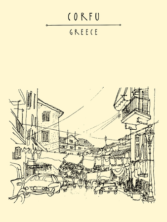 boulevard: Street in Corfu, Greece, Europe. Retro style sketch. Buildings, hanging bed sheets drying, cars. Travel greeting card, postcard, poster template, book illustration in vector
