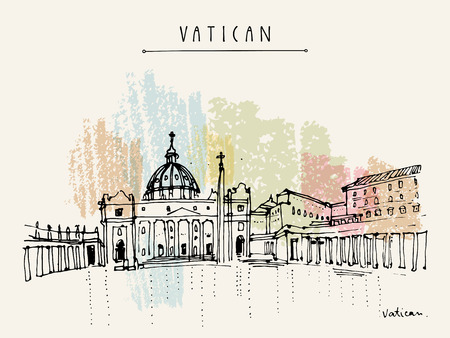 Saint Peter cathedral and Apostolic Palace in Vatican city, Europe. Hand drawing. Travel sketch. Vintage touristic postcard, poster, calendar or book illustration in vector Illustration