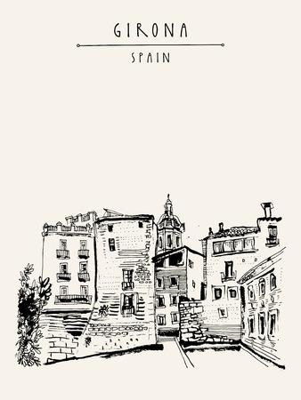 Alte Stadt in Girona, Katalonien, Spanien, Europa. Traditionelle spanische historische buildings.Travel Skizze. Von Hand gezeichnet Jahrgang Buchillustration, Grußkarte, Postkarte oder Poster-Vorlage in Vektor