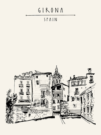 Old town in Girona, Catalonia, Spain, Europe. Traditional Spanish historical buildings.Travel sketch. Hand-drawn vintage book illustration, greeting card, postcard or poster template in vector