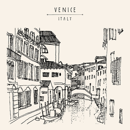 Venice, Italy, Europe. Hand drawing of a canal, houses, boat. Vintage artistic book illustration. Travel sketch. Retro style touristic postcard, poster, greeting card in vector