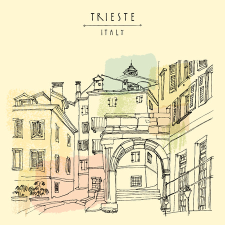 mediterranean houses: Remains of a Roman arch in Triestes Old City, Trieste, Friuli-Venezia Giulia, Italy. Mediterranean houses. Artistic hand drawn travel sketch. Book illustration, postcard, poster in vector