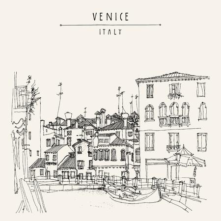 Gondola w Wenecji, we Włoszech, w Europie. Wektor wyciągnąć rękę rocznika turystycznej pocztówki