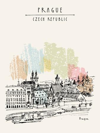 Prague skyline, Czech Republic, Europe. European cityscape. Travel sketch. Hand-drawn vintage touristic postcard, poster, book or calendar illustration in vector Иллюстрация