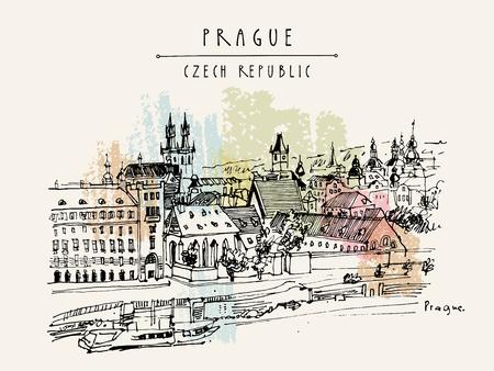 unesco: Prague skyline, Czech Republic, Europe. European cityscape. Travel sketch. Hand-drawn vintage touristic postcard, poster, book or calendar illustration in vector Illustration