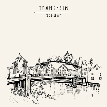 touristic: Riverside and amazing historic bridge in Trondheim, Norway, Europe. Old town, wooden houses and a church. Hand drawing in retro style. Vintage touristic postcard, poster or book illustration in vector