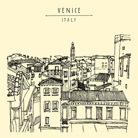 venice italy: Venice, Italy, Europe. Old beautiful houses, roofs, skyline. Above view. Vintage artistic hand drawn postcard or poster template