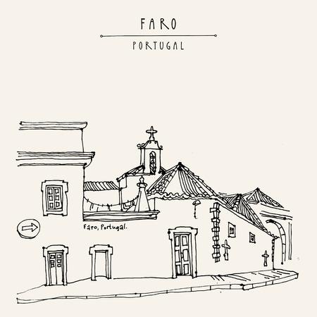 Faro, Portugal, Europa. Straße in der Altstadt, schöne Häuser und eine Kirche. Handzeichnung im Retro-Stil. Reise Skizze. Weinlese-touristische Postkarte, Poster, Kalender oder Buchillustration in Vektor