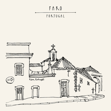 Faro, Portugal, Europe. Street in old town, nice houses and a church. Hand drawing in retro style. Travel sketch. Vintage touristic postcard, poster, calendar or book illustration in vector Illustration