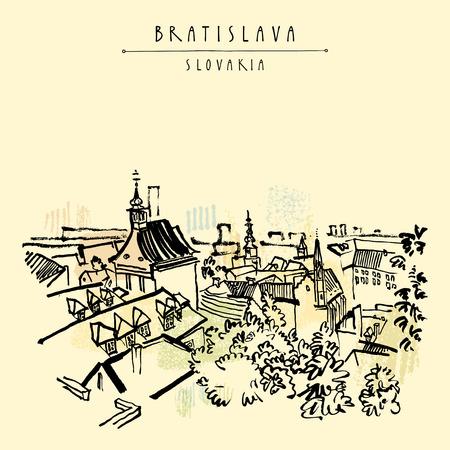 boulevard: Bratislava skyline, Bratislava, Slovakia, Europe. Vector artistic illustration. Retro style sketch. Belfry, roofs, trees, sky. Travel postcard, poster template, book illustration in vector Illustration