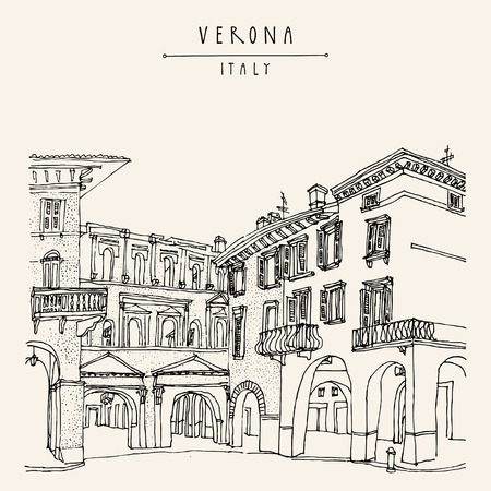 touristic: Verona, romantic Italian city of Romeo and Juliette. Old historic buildings. Travel sketch. Vector vintage hand drawn touristic postcard Illustration