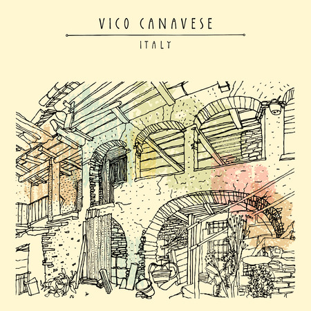 tuscan: Italian village, Europe. Old house. Travel sketch. Vintage hand drawn touristic postcard or poster