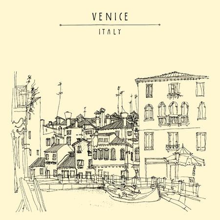 venice italy: Gondola in Venice, Italy, Europe. Vector hand drawn vintage touristic postcard